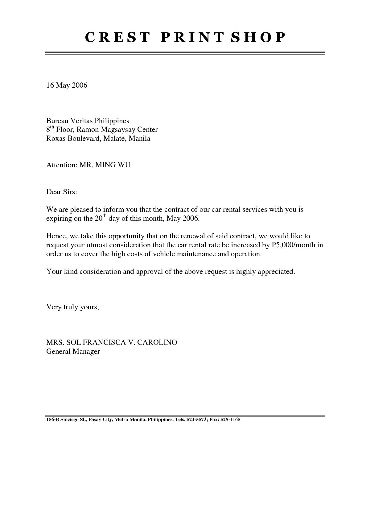 Rent Renewal Letter Template - Tenancy Agreement Renewal Template