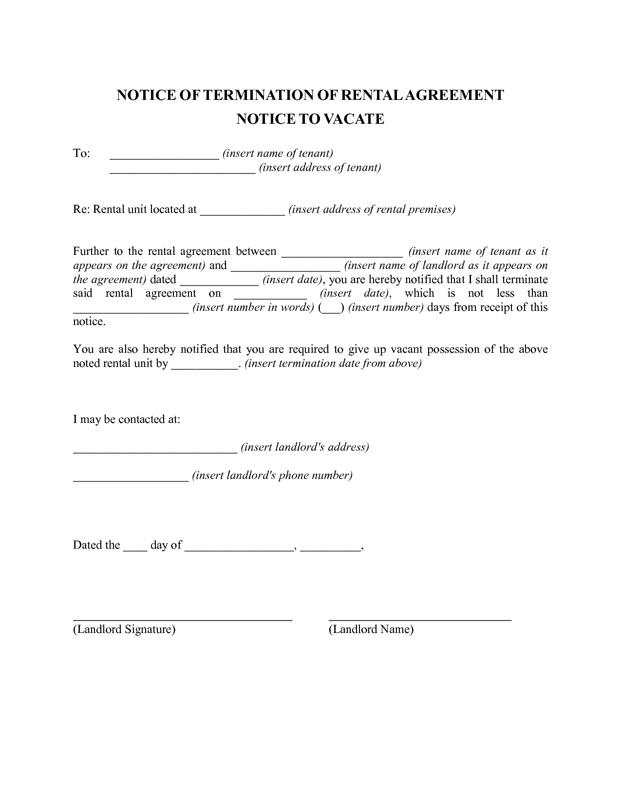 Notice Letter to Tenant From Landlord Template - Tenancy Resignation Letter Letter format formal Sample