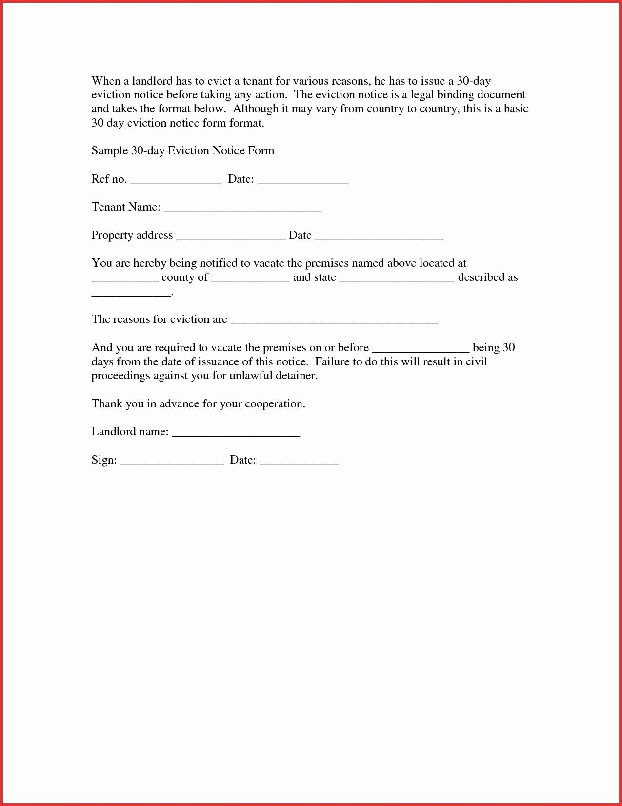 30 Day Eviction Letter Template - Tenant Eviction Letter Template Best Free Eviction Notice