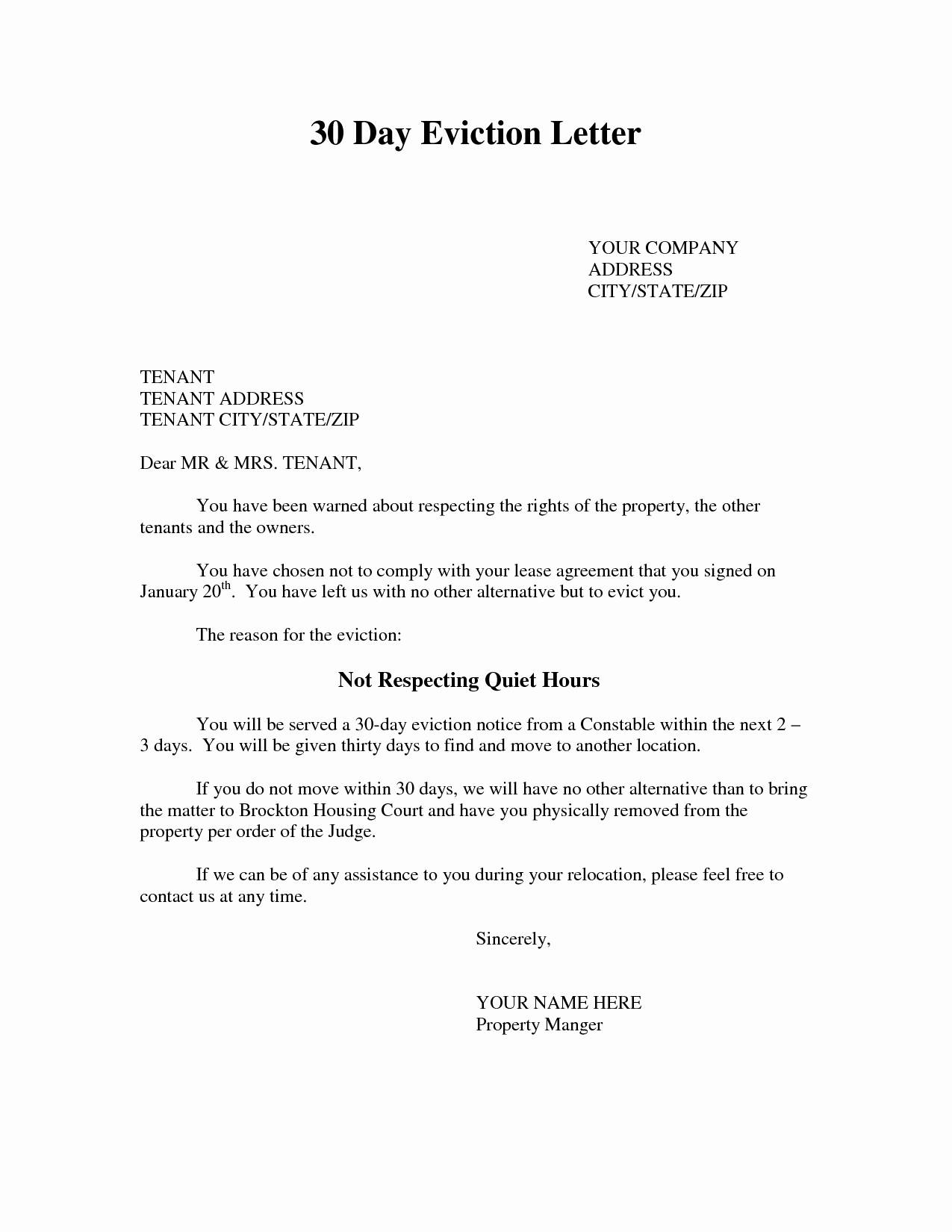 Eviction Notice Letter Template - Tenant Eviction Letter Template Fresh Eviction Notice Template