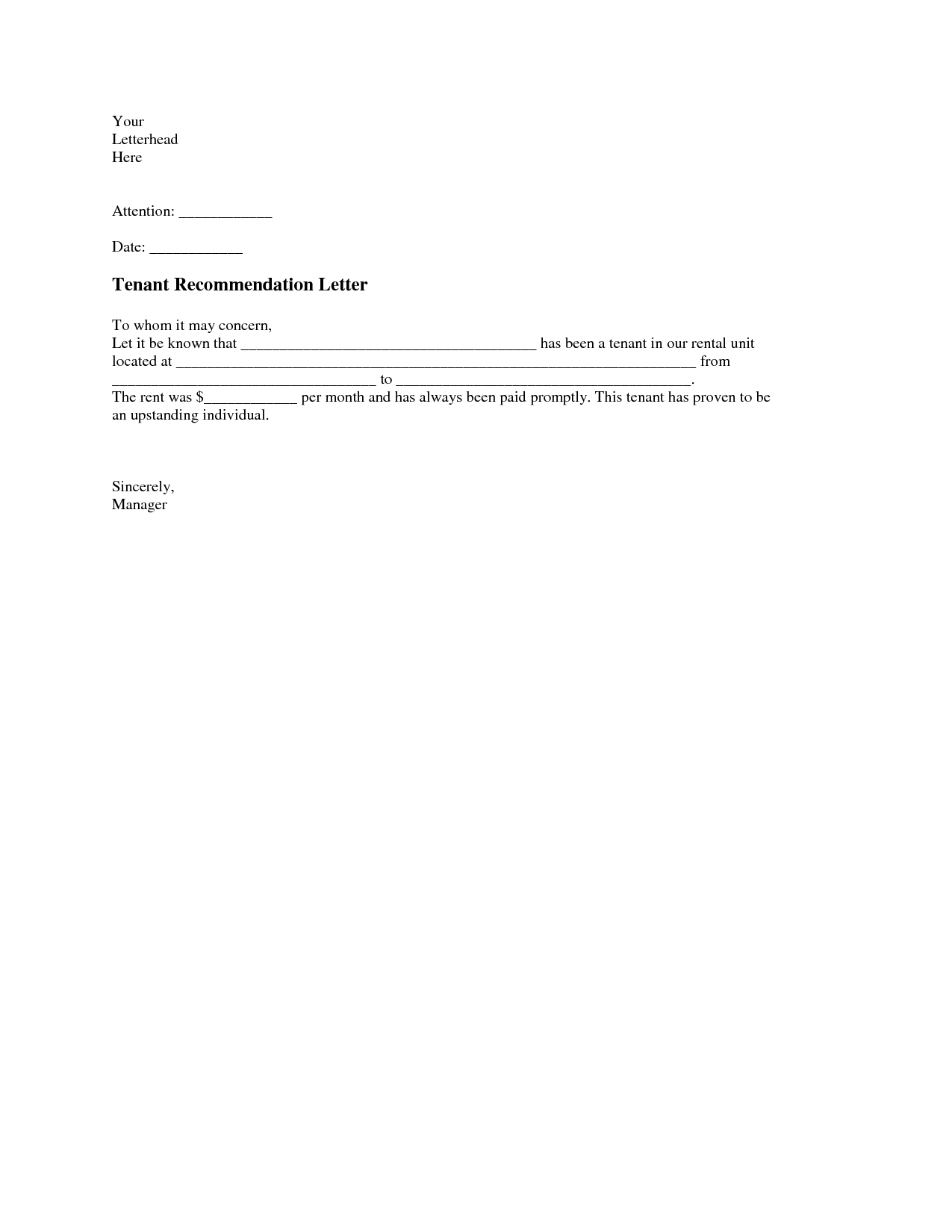 Notice Letter to Tenant From Landlord Template - Tenant Re Mendation Letter A Tenant Re Mendation Letter is