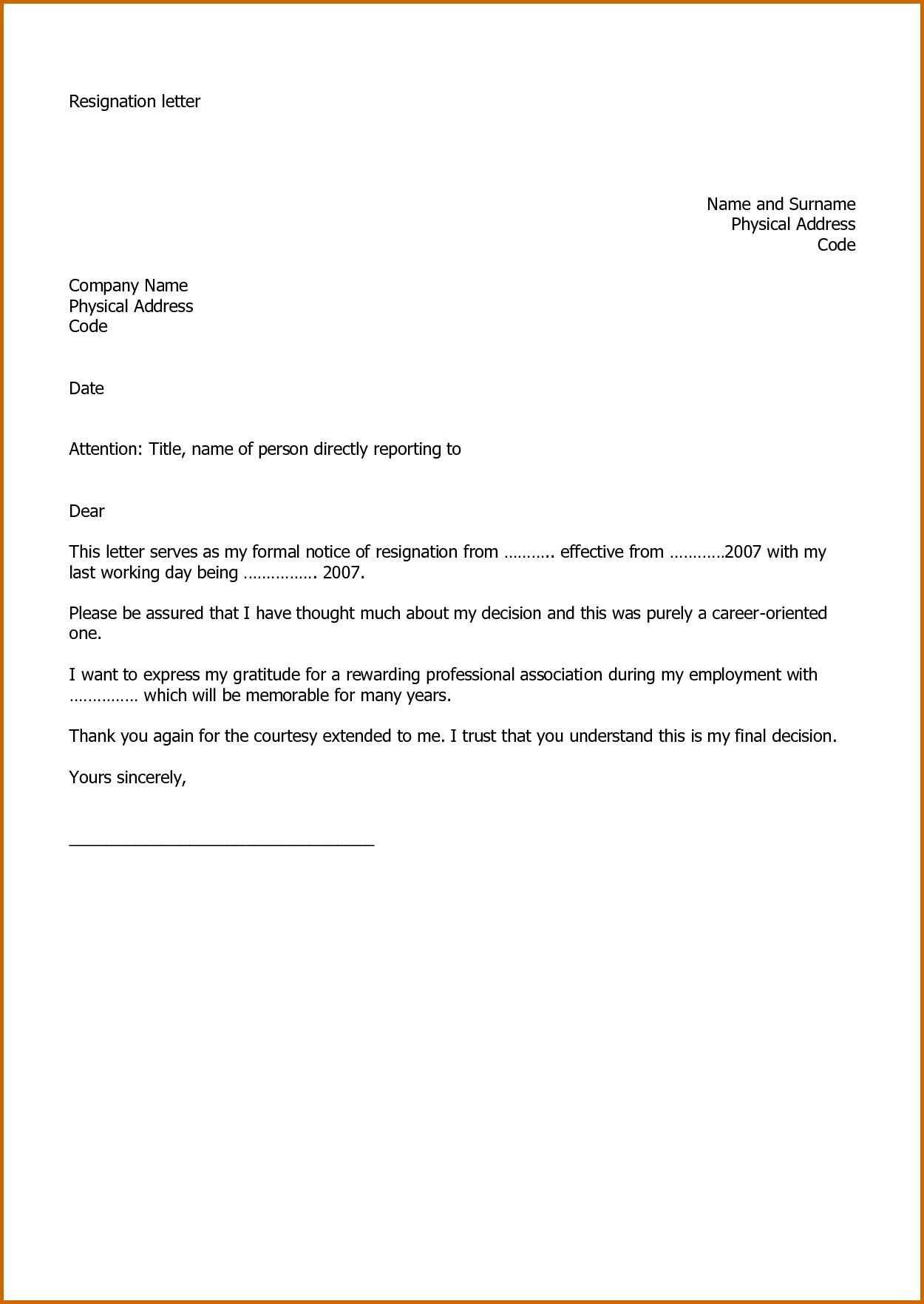 Professional Resignation Letter Template - Thank You Letter after Finishing A Job Save Resignation Letter for