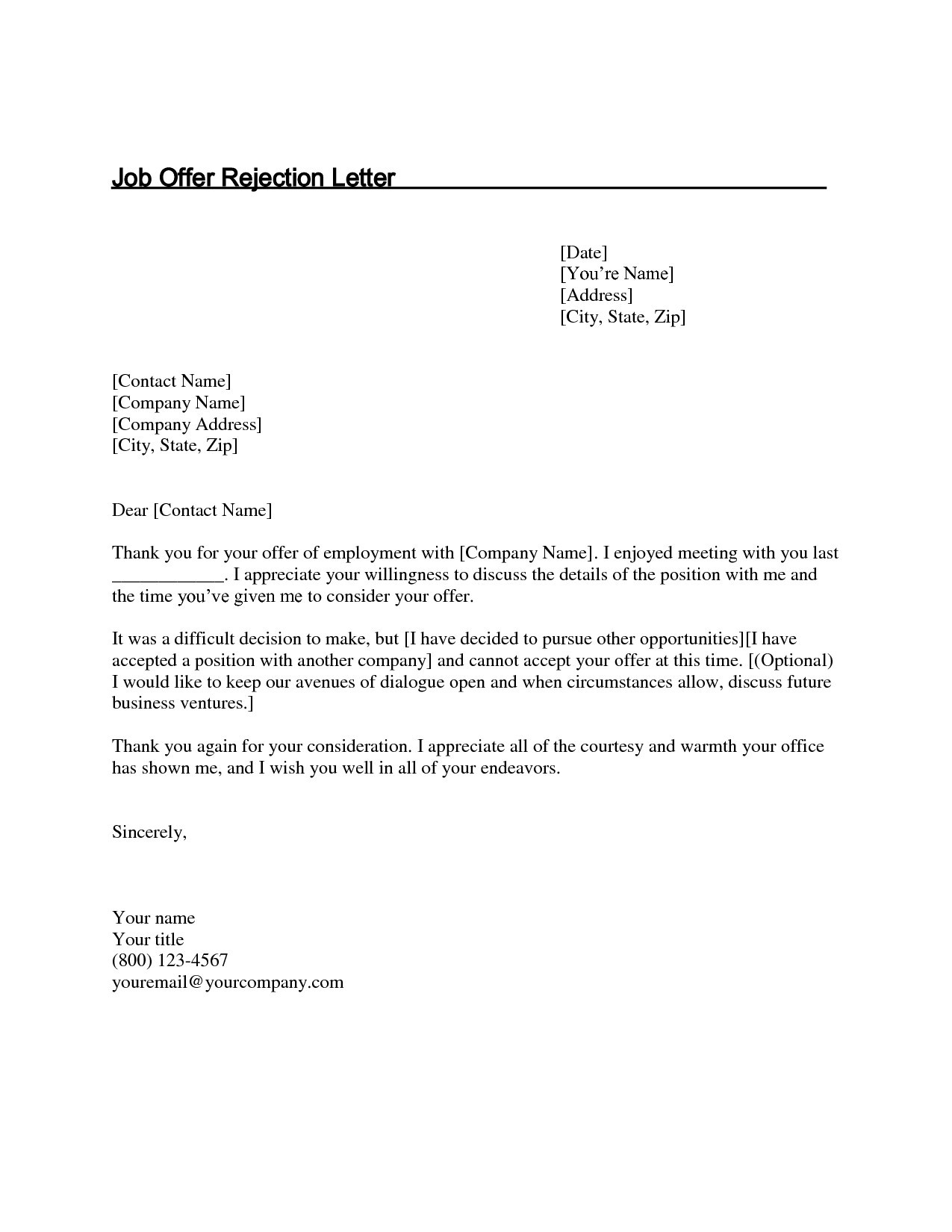 Job offer decline letter template examples letter templates job offer decline letter template thank you letter after job fer decline luxury new rejection expocarfo Choice Image