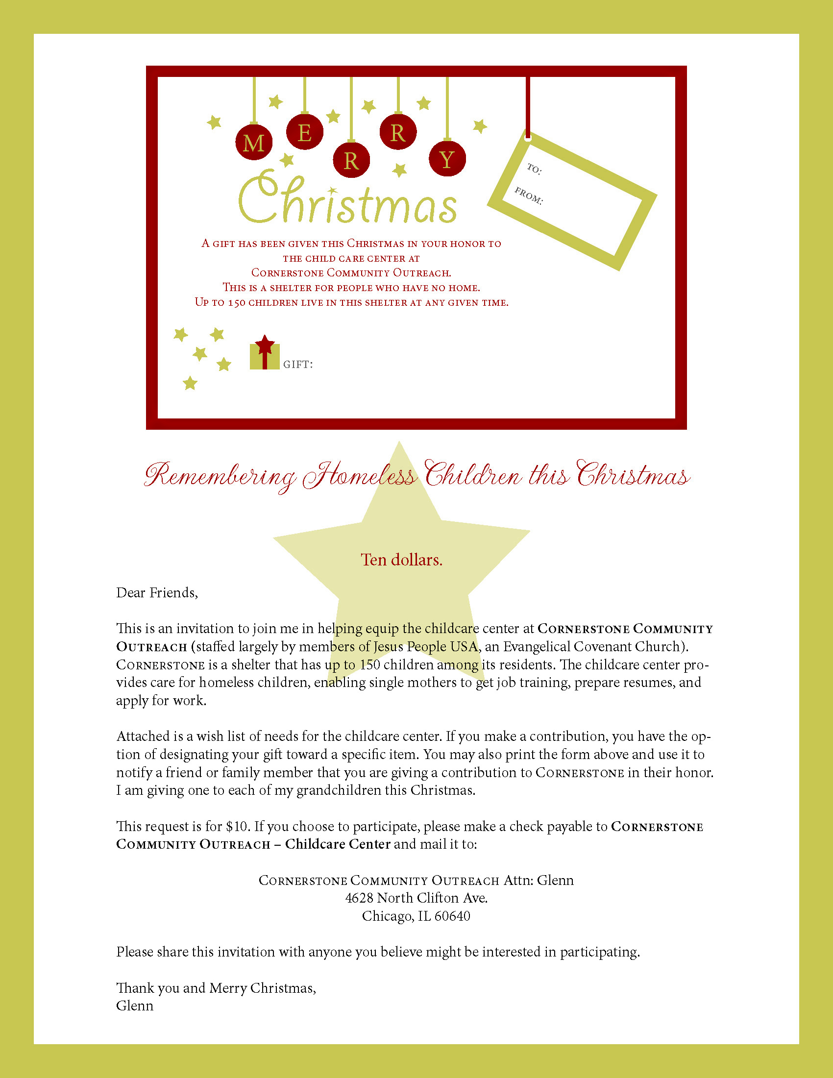 Christmas Donation Letter Template - Thank You Letter for Christmas Donation Letter format