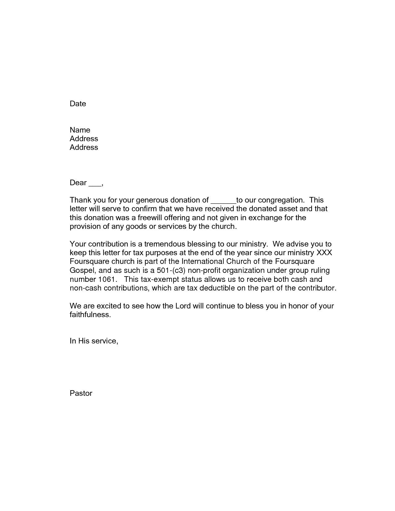 Donation Letter Template Pdf - Thank You Letter for Church Contribution Choice Image Letter