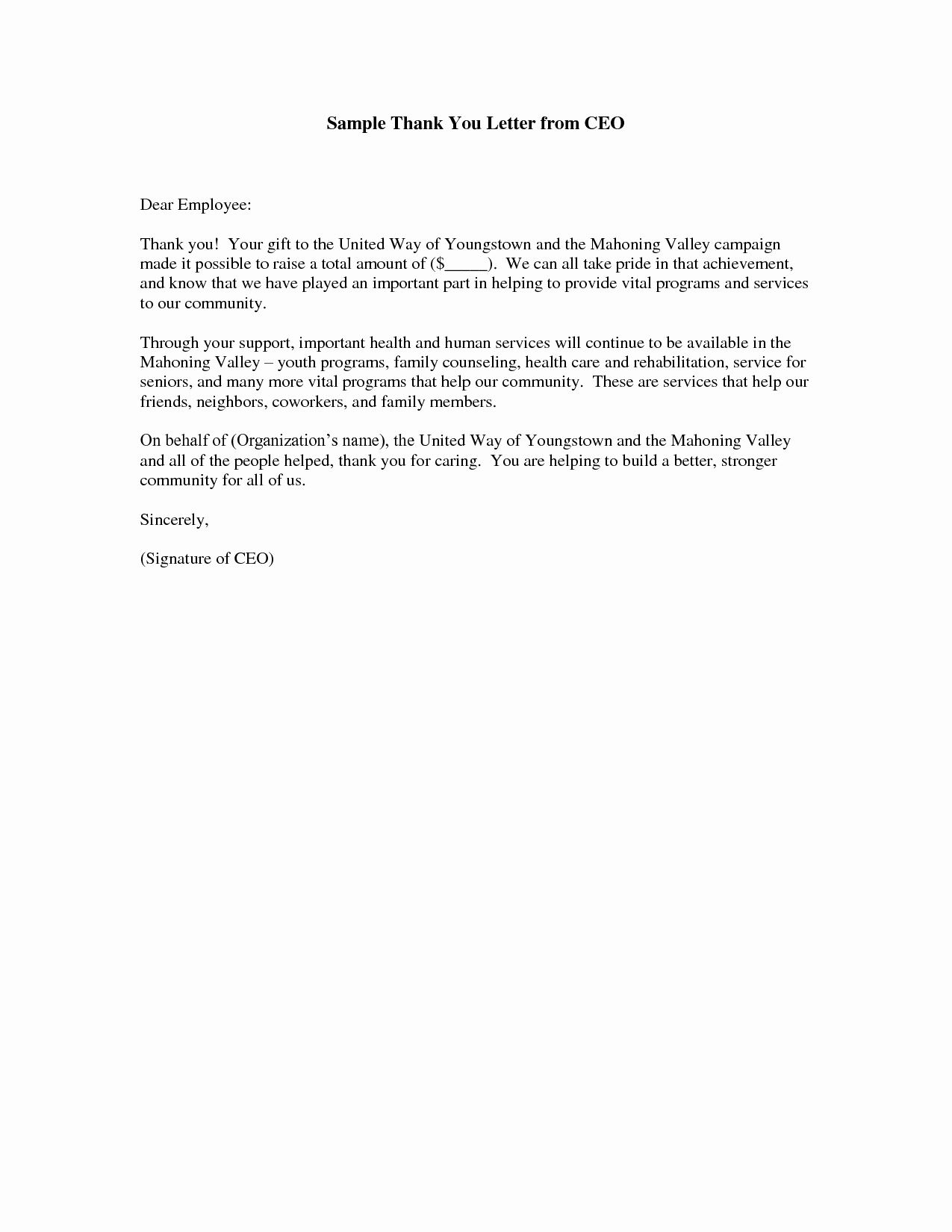 Car Donation Letter Template - Thank You Letter format Inspirational Thank You Letter Template