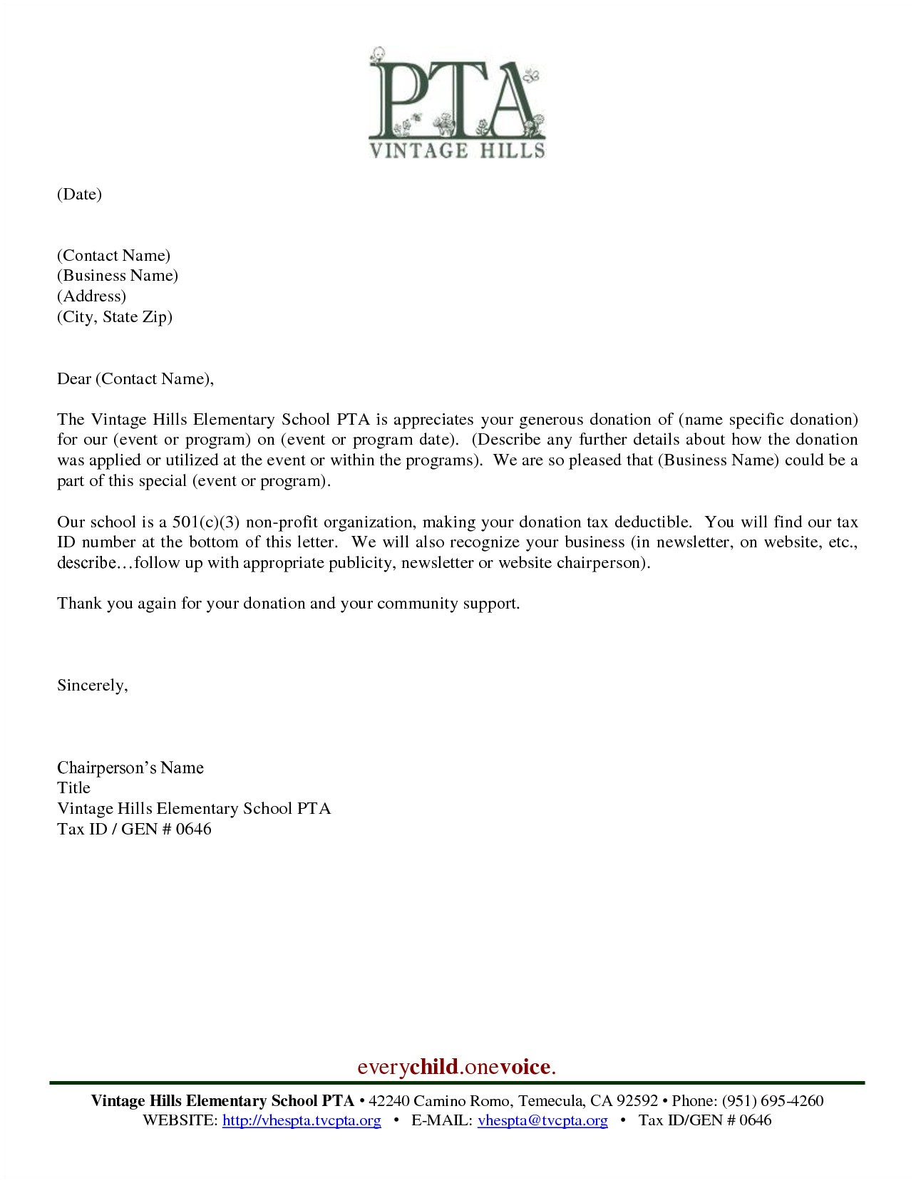 Fundraising Letter Template - Thank You Letters for Donations Business Donation Letter