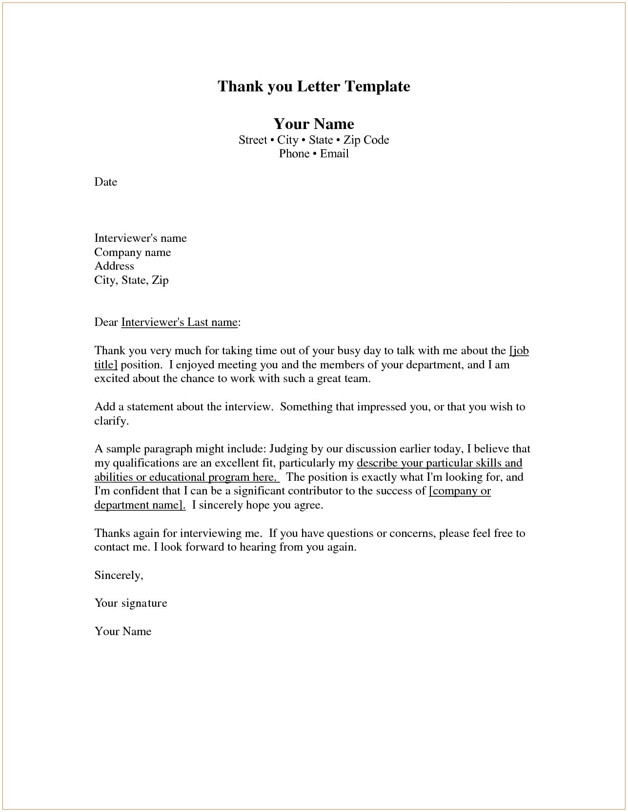 Employment Thank You Letter Template - Thank You Letters for Job Interviews Save Http Jobsearch About Od