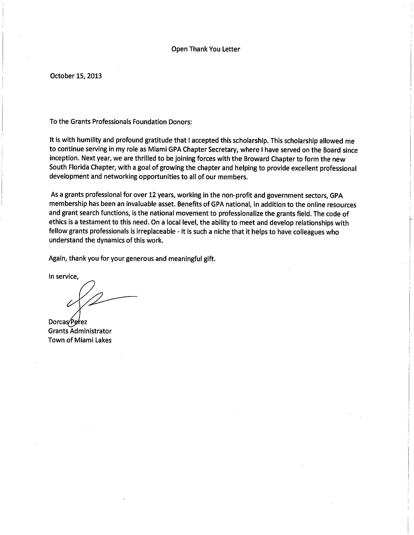 Scholarship Thank You Letter Template - Thank You Letters to Veterans Examples Samples