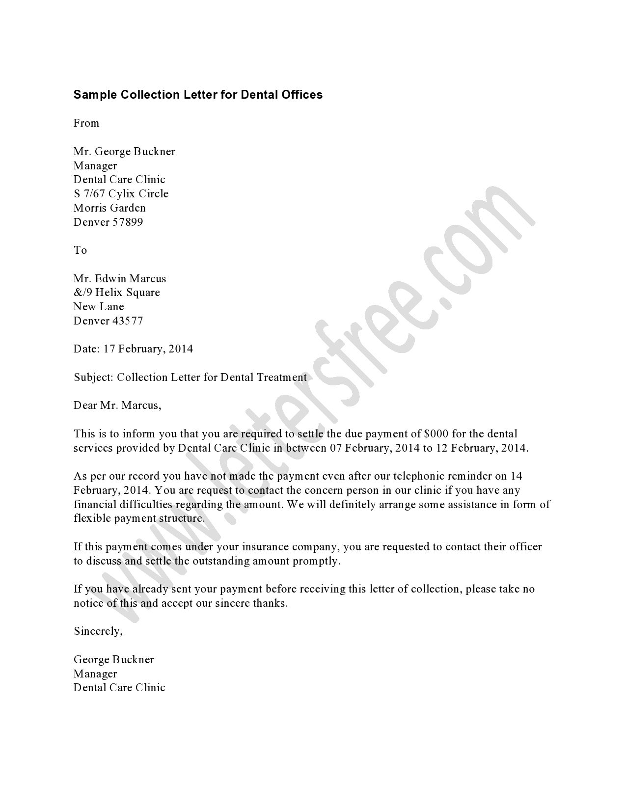 Collection Letter Template for Medical Office - the Dental Collection Letter Should Be Used as A First Late Notice