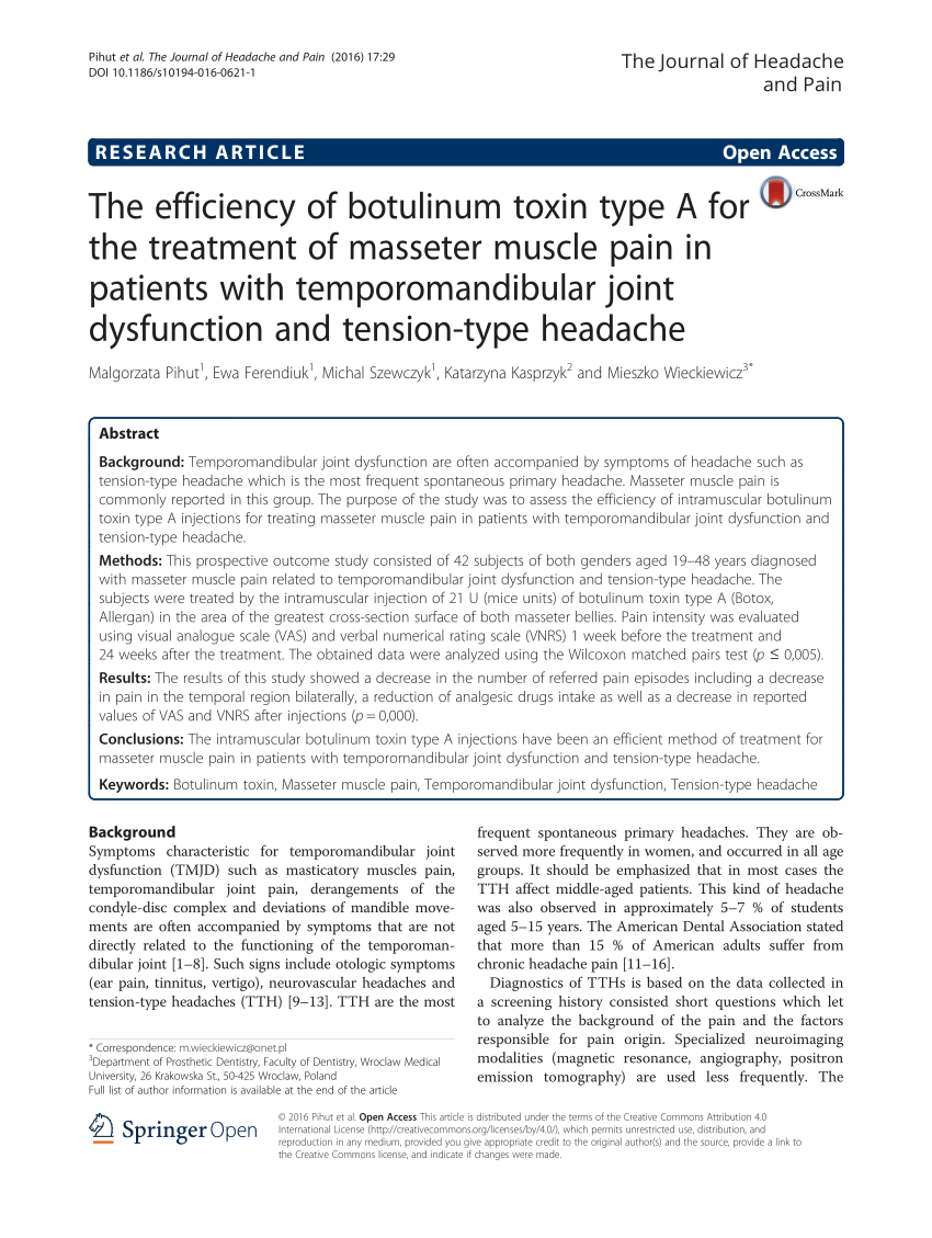 Botox Letter Of Medical Necessity Template - the Efficiency Of Botulinum toxin Type A Pdf Download Available