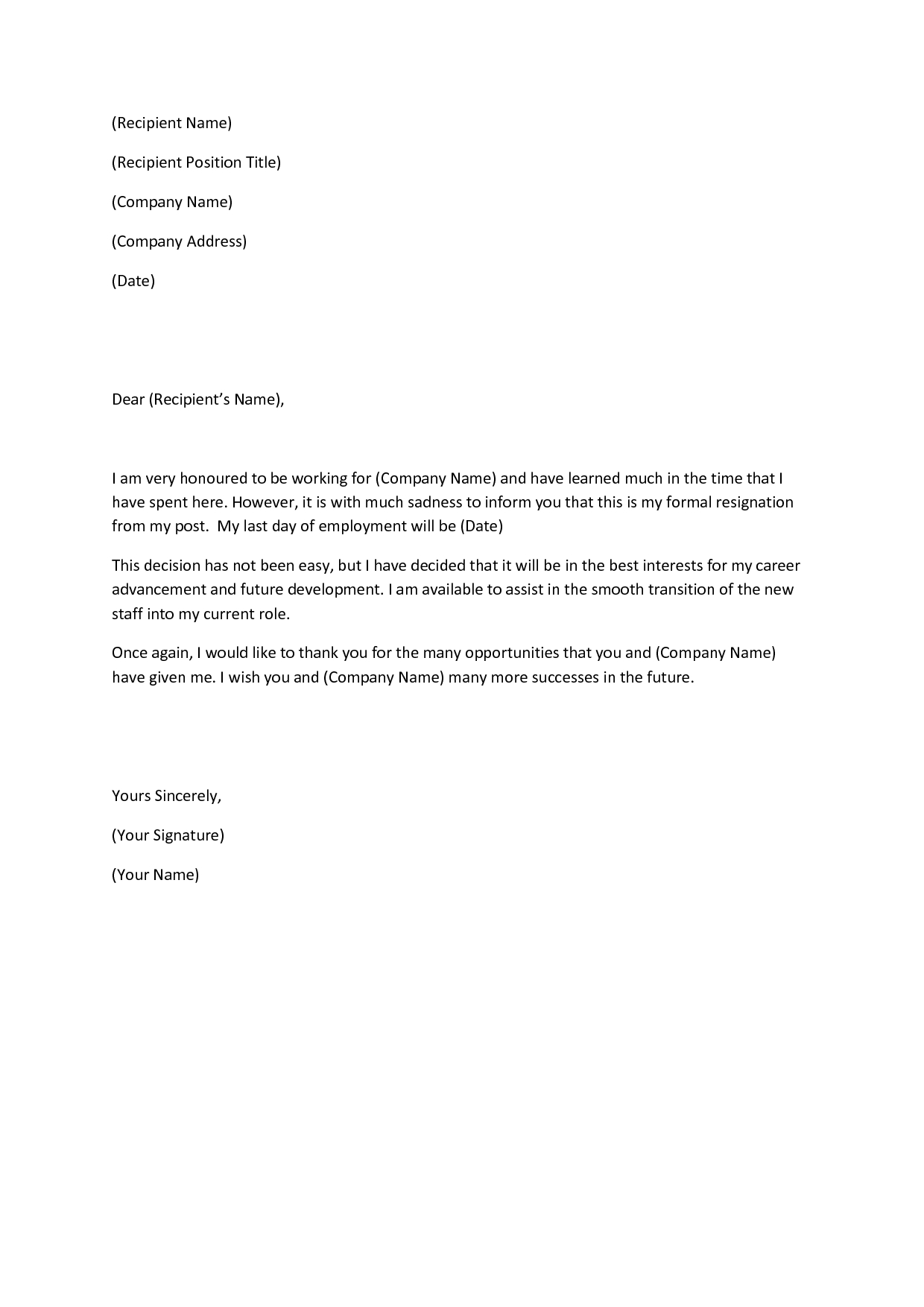 Sample Resignation Letter Template - This Article Will Include Multiple Sample Letters for Quitting A Job
