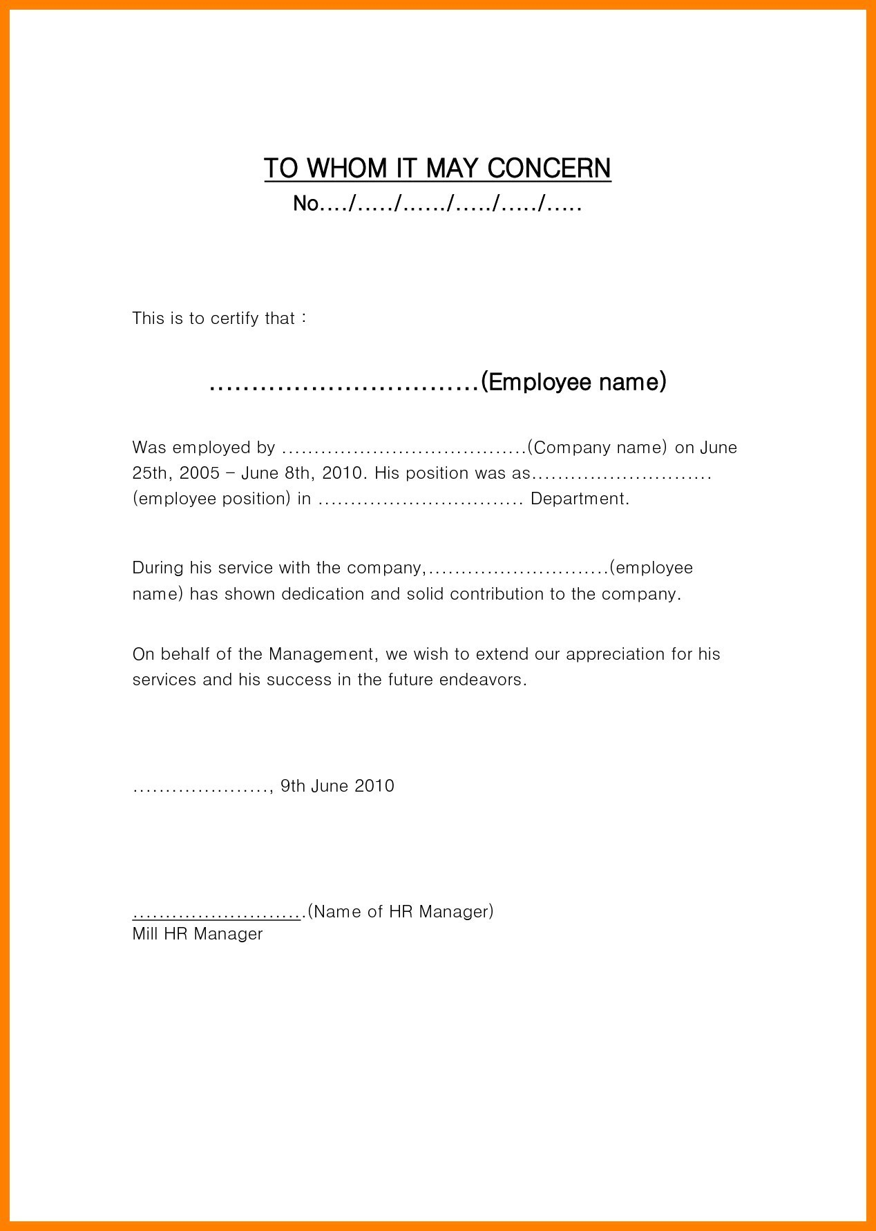 Employment Verification Letter to whom It May Concern Template - to whom It May Concern Letter format for Employees New Employment