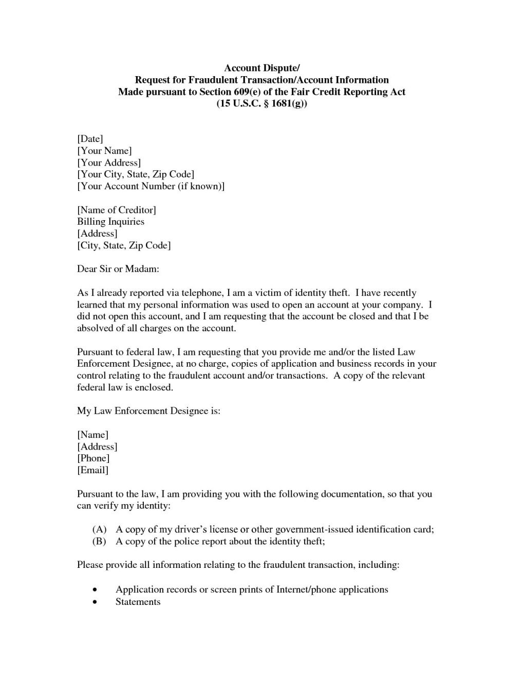 Free Section 609 Credit Dispute Letter Template - top Section 609 Credit Dispute Letter Sample Vl46 – Documentaries