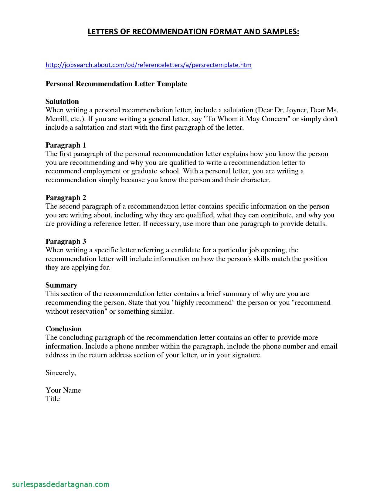 personal recommendation letter template collection letter templates