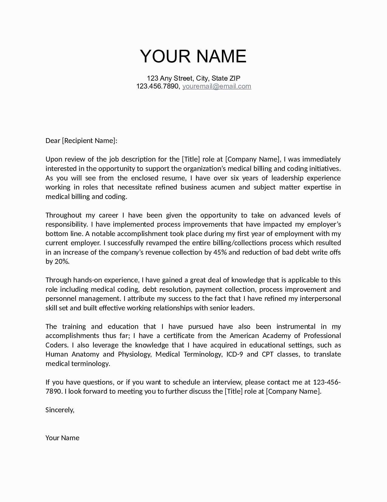 Good Cover Letter Template - Valid Sample Cover Letter for Job Vacancy