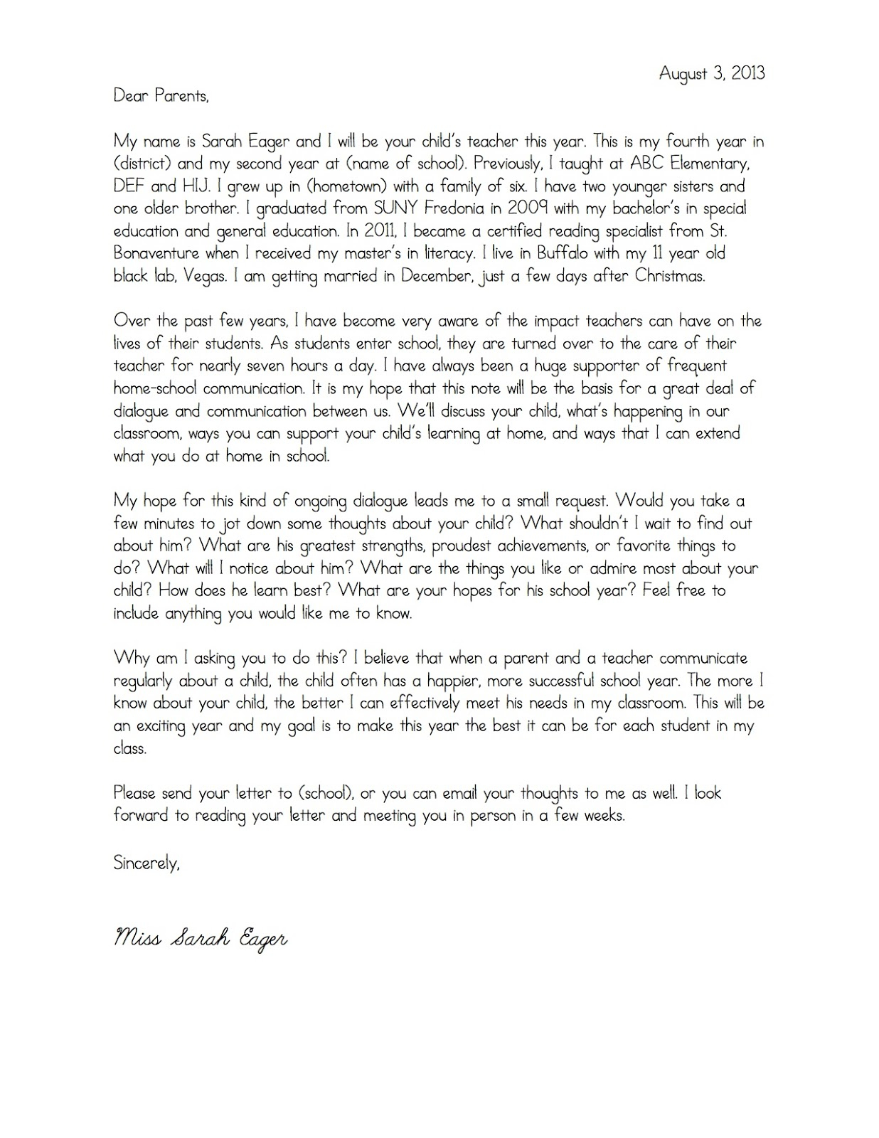 Teacher welcome letter to parents template samples for Parent letter from teacher template