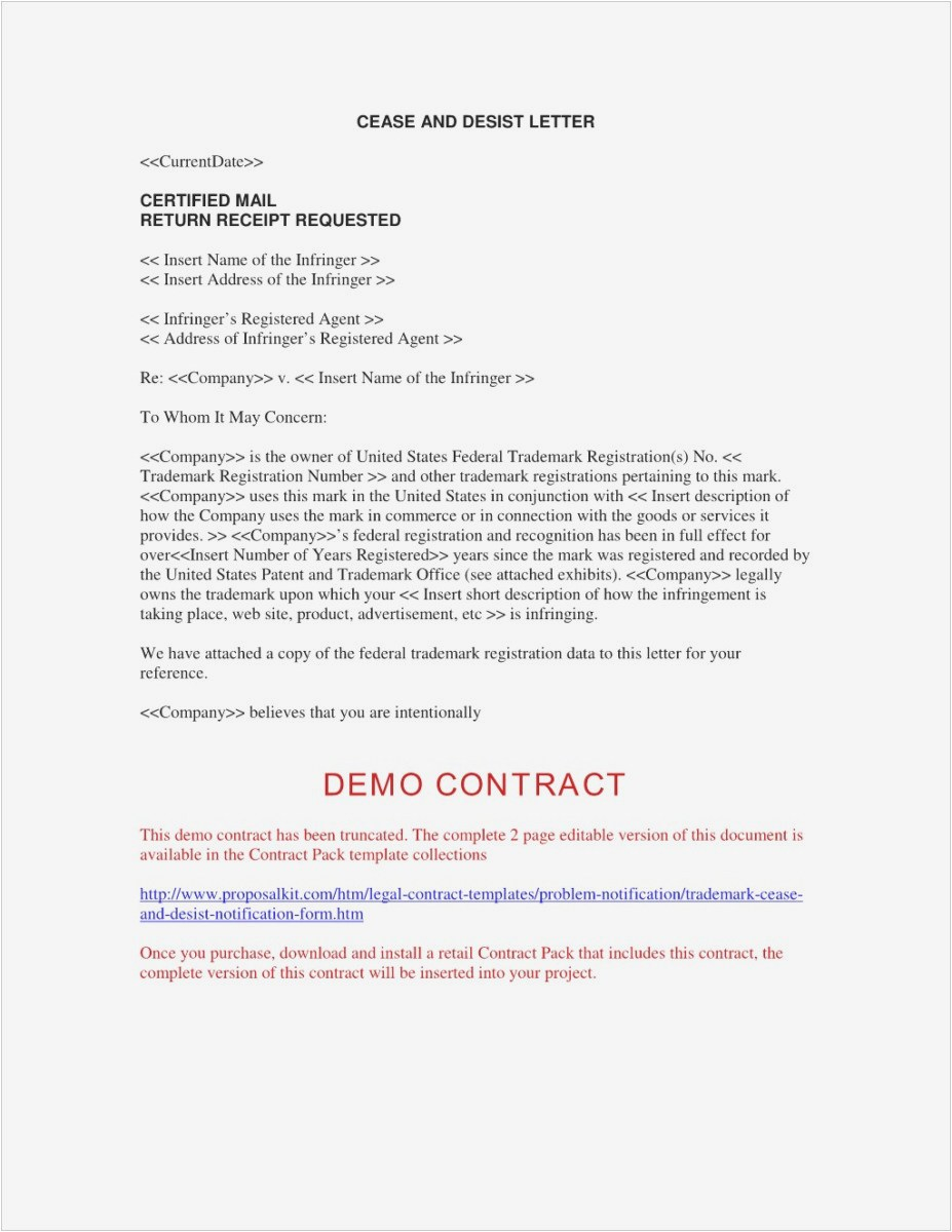 Trademark Cease and Desist Letter Template - What is A Cease and Desist Letter Professional Sample Cease and