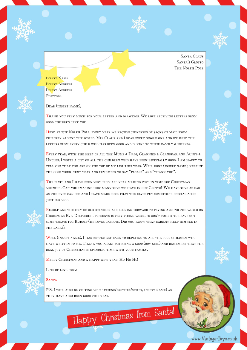 graphic regarding Letter From Santa Template Printable named No cost Printable Letter Versus Santa Template Illustrations Letter