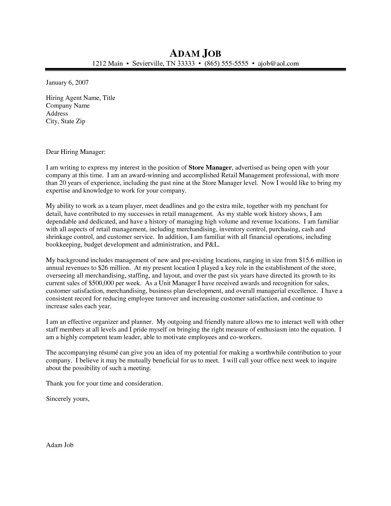 Warehouse Manager Cover Letter Template - Writing A Cover Letter for Retail 10 Awesome Collection Sample