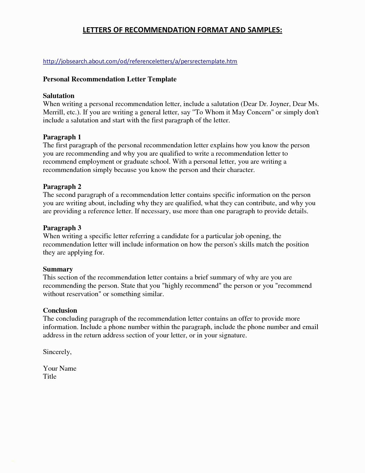 Free Letter Of Recommendation Template - Writing A Re Mendation Letter for A Job