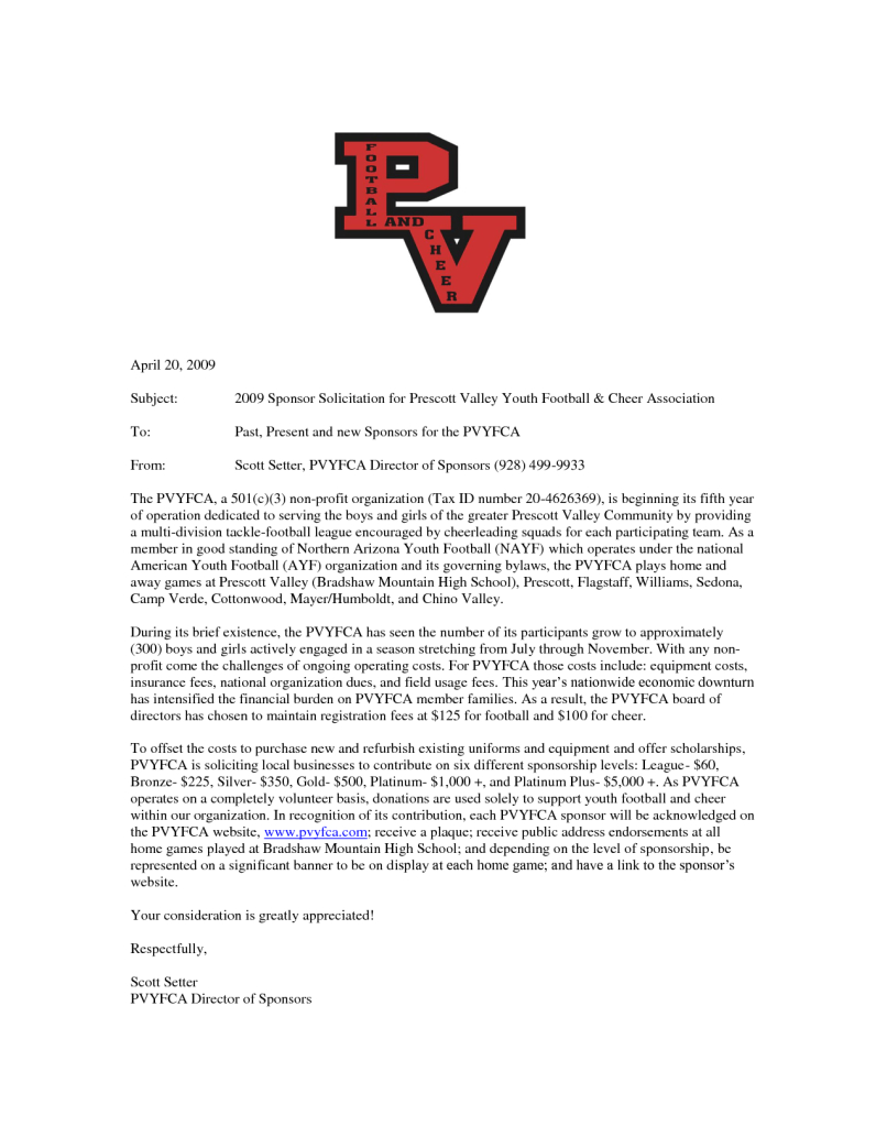 Youth Football Sponsorship Letter Template - Youth Football Sponsor Letter